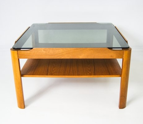 Mid-Century Teak & Smoke Glass 2 Tier Coffee Table by Myer