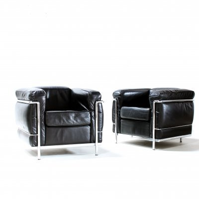 Pair of LC2 lounge chairs by Le Corbusier for Cassina, 1980s