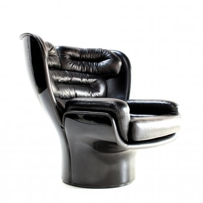Rare full black edition 'Elda' chair by Joe Colombo for Comfort, 1980s