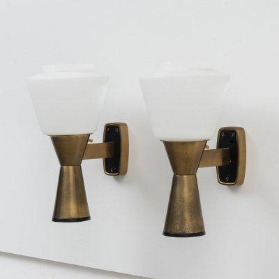Pair of Signed Stilnovo Brass & Opaline Glass Wall Lamps, 1960s