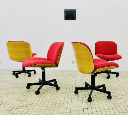 4 x vintage office chair by Ico & Luisa Parisi for MIM Roma, 1990s
