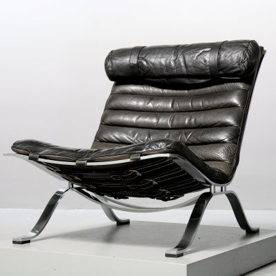 Black Leather 'Ari' lounge chair by Arne Norell for Aneby Möbel AB, Sweden 1980s