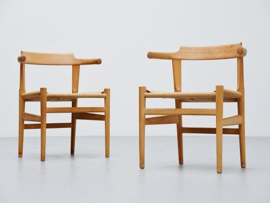 Pair of Hans Wegner PP68 chairs by PP Møbler Denmark, 1987