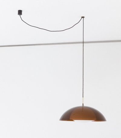 Smoked Perspex & Brass Dome Pendant Chandelier by Stilux Milano, 1960s