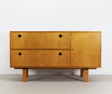 Small birchwood sideboard by W. Lutjens for Den Boer Gouda