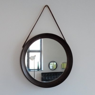 Small round wengé wooden mirror with leather strap, 1960's