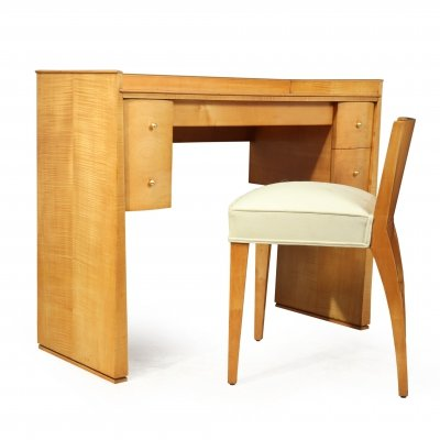 French Art Deco Sycamore Dressing Table & Chair, 1920s