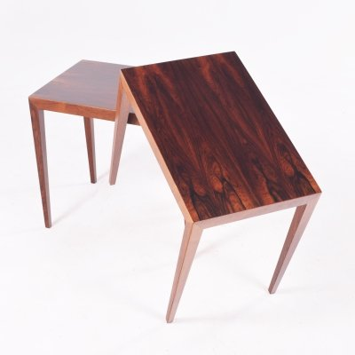 Rosewood Pair of Side Tables by Severin Hansen for Haslev