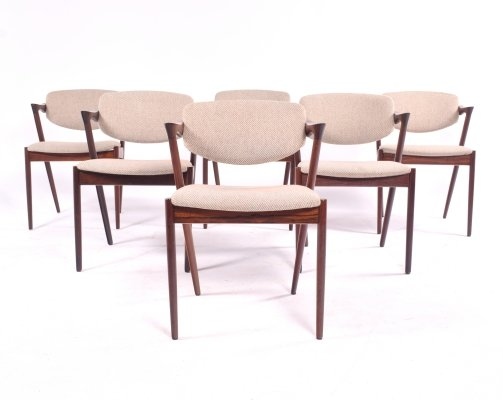 Set of 6 Kai Kristiansen Rosewood Model 42 Dining Chairs