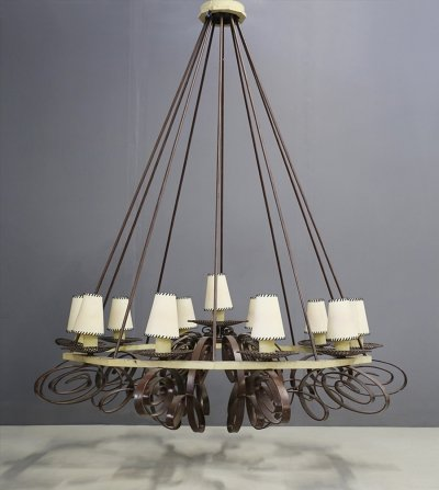 MidCentury French Chandelier in forged iron, 1950s