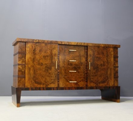 MidCentury Sideboard in Walnut briar & brass, 1950s