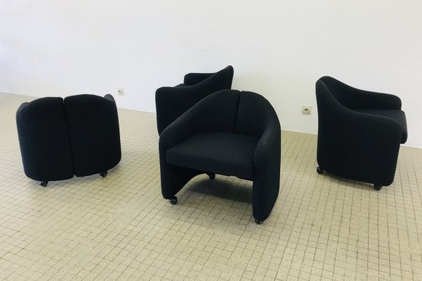 Vintage Tecno P142 black fabric dining chairs by Eugenio Gerli, 1965