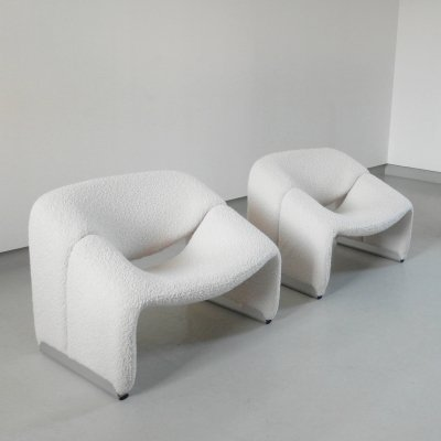 Pair of F598 Groovy chairs in wool by Pierre Paulin for Artifort, The Netherlands 1970s