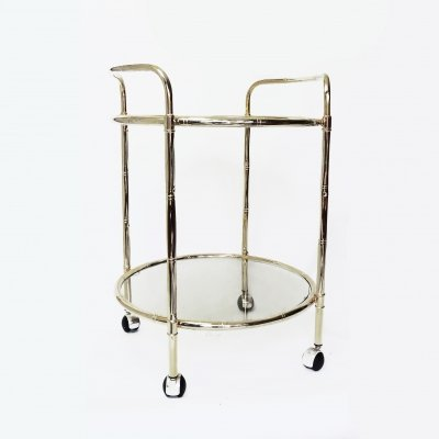 Faux Bamboo Brass Drinks Trolley, 1970s