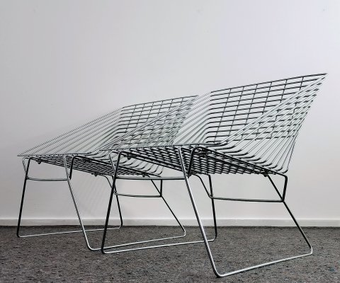 Architectural Steel Wire Lounge Chairs, 1980's