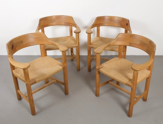 Set of Four Rainer Daumiller Pine Chairs for Hirtshals Savvaerk, Denmark 1970s