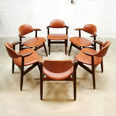 Set of 6 Vintage Dutch design dining chairs by Hulmefa