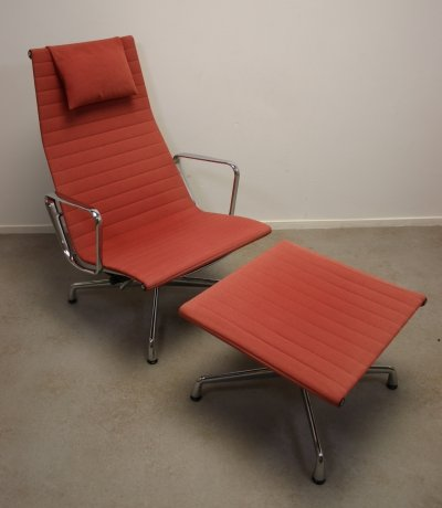 EA 124 Chair with Ottoman EA 125 by Charles & Ray Eames for Vitra, 1990s