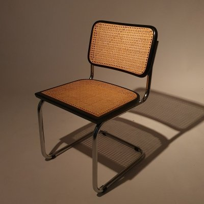 3 Tubular Frame & Cane Cantilever dining chairs, Italy 1970s