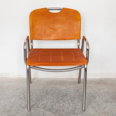 Set of 6 stackable camel saddle leather 'Castiglia' dining chairs by Achille Giacomo Castiglioni, 1960s