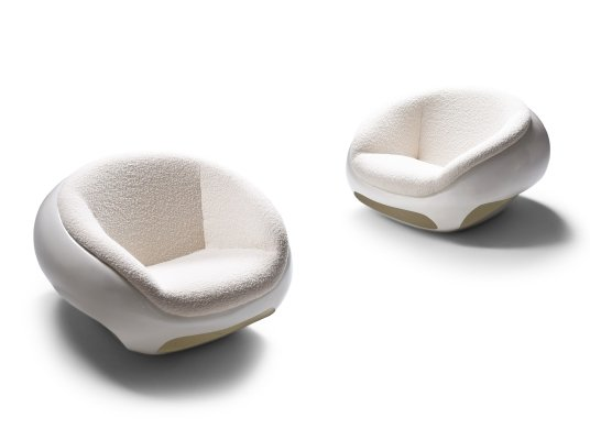 Mario Sabot Sculptural Fiberglass Lounge Chairs In Bouclé, 1969