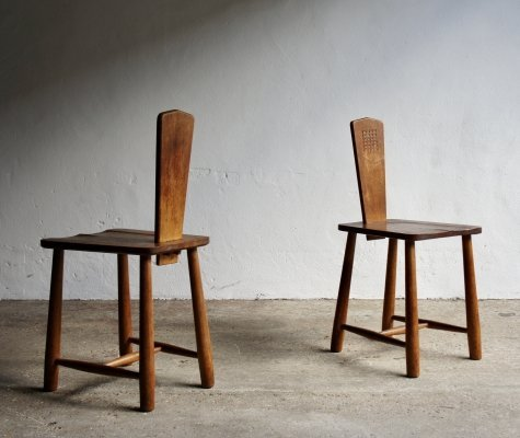 Pair of Arts & Crafts Rustic Carved Chairs, 1930s
