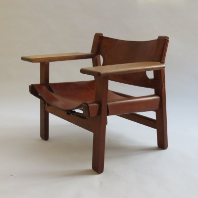 Early Original Vintage Borge Mogensen Leather & Oak Spanish Chair, 1950s