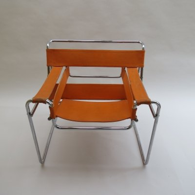 Wassily B3 Chair by Marcel Breuer for Gavina in Orange Canvas, 1960s