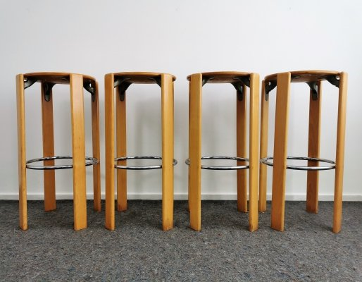 Set of 4 Beech Bruno Rey Bar Stools by Kusch + Co, 1970's