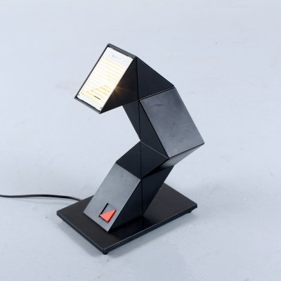 Black memphis style adjustable Zigzag desk lamp by Massive, 1980s