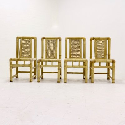 Set of 4 Mid-Century Modern Bamboo Dining Chairs in Tropicalist Style, 1970s