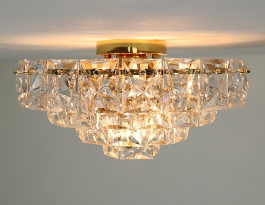 Large brass & crystal glass ceiling light by Kinkeldey, 1970s