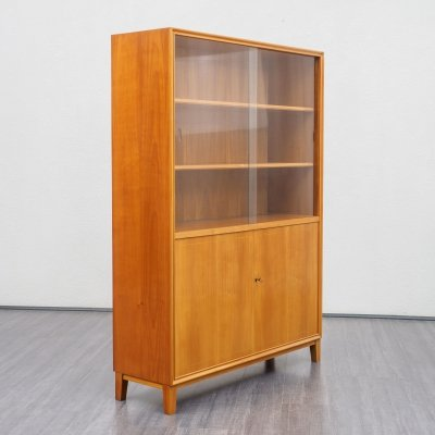 1950s glass display cabinet in cherrywood