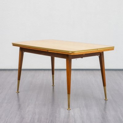 Height-adjustable & extendable vintage dining table, 1950s