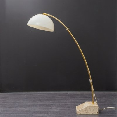 Vintage 1970s arc floor light with marble foot