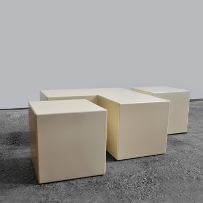 1970s cubist elements made of ivory color brushed wood