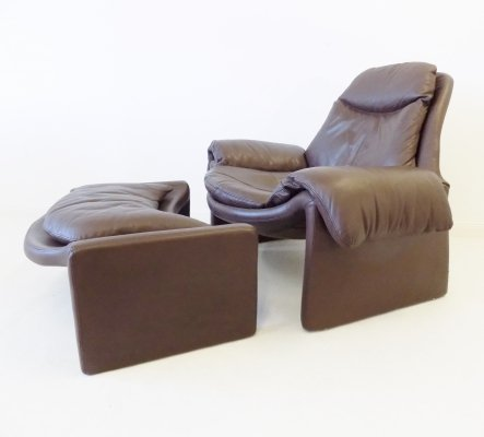 Saporiti P60 brown leather loungechair with ottoman by Vittorio Introini