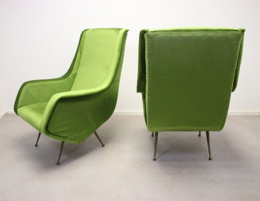 Set of 2 Green Lounge Chair by Aldo Morbelli for ISA Bergamo, 1950s