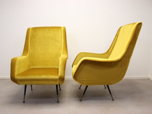 Set of 2 Yellow Lounge Chair by Aldo Morbelli for ISA Bergamo, 1950s
