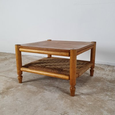 Vintage coffee table with rope, 1950s