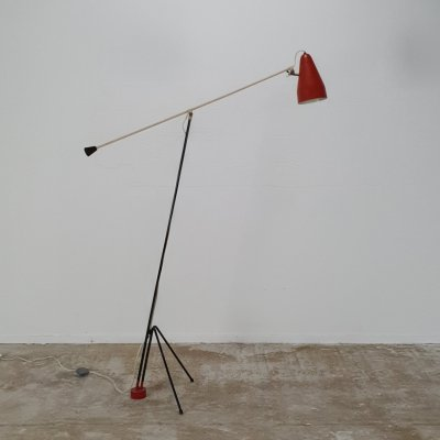 Very rare large sculptural floor lamp by Wim Rietveld for Gispen, 1950s