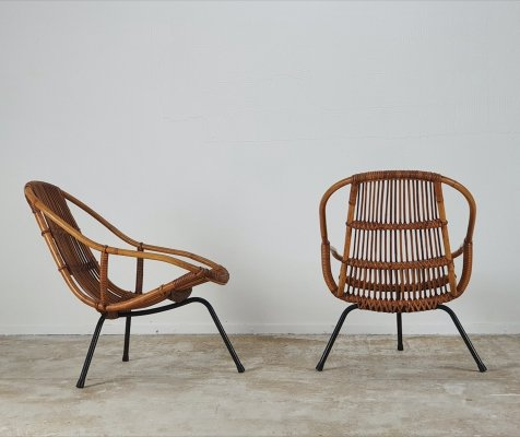 Rare set of Dirk van Sliedregt lounge chairs in rattan