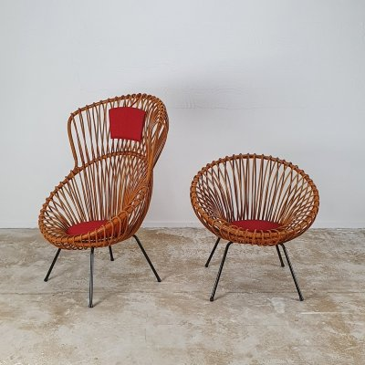 Rare set of rattan chairs by Rohé, 1960s