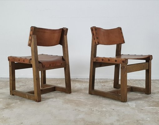 Brutalist chair set with Cognac leather