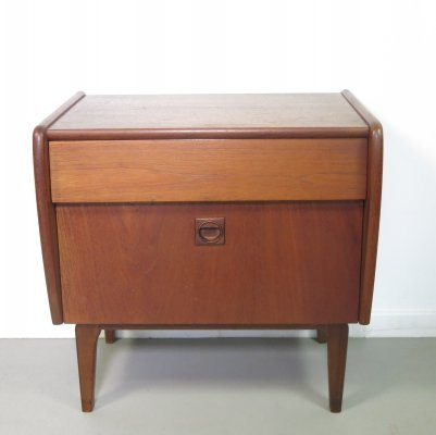 Small teak bedside table with drawer