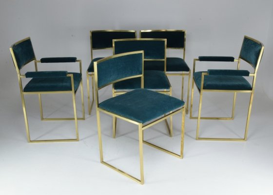 Set of 6 Chairs / Armchairs by Willy Rizzo, 1970's