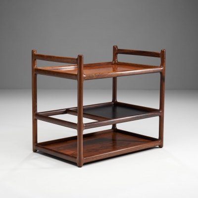 Henning Korch Rosewood Serving Cart for C.F. Christensen, Denmark 1960s