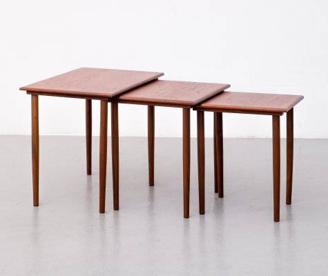 Teak nesting tables by Fabian Denmark, 1960s