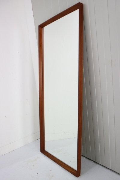 Scandinavian Modern Long Beveled Edge Teak Wall Mirror, Denmark 1950s