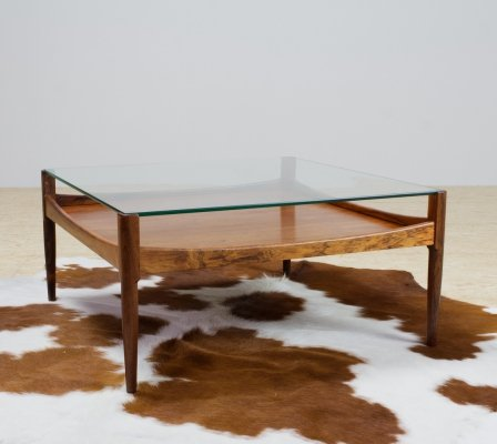 Rosewood & glass square coffee table by Kristan Vedel, 1960s